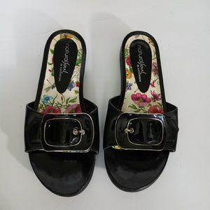 Natural Soul Black Slides Sandel Shoes Size 6